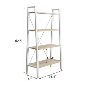 Organize with dporticus 2 set 4 tier modern ladder bookshelf free standing open bookcase storage shelf units display stand oak white 31 4 l x13 w x52 5 h