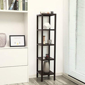 Storage songmics 100 bamboo bathroom shelf 5 tier multifunctional storage rack shelving unit bathroom towel shelf for kitchen livingroom bedroom hallway brown ubcb55z
