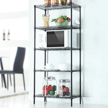 Load image into Gallery viewer, Cheap detailorpin changeable assembly floor standing carbon steel storage rack multipurpose shelf display rack for kitchen garage bedroom storage display shelves us stock black