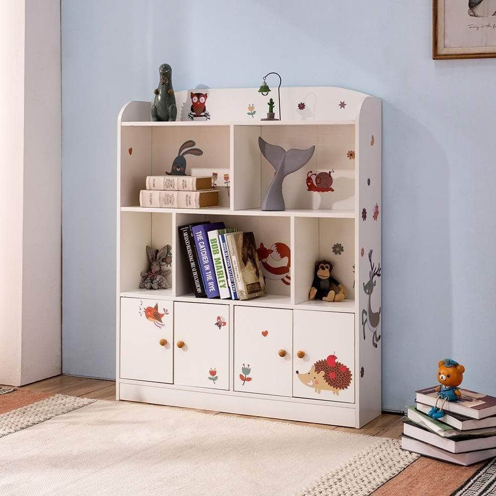 Discover emall life kids large bookcase with diy sticker book and toy storage organizer bookshelf with 4 layers and doors for girls boys bedroom white