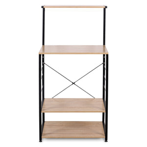 New woltu 4 tiers shelf kitchen storage display rack wooden and metal standing shelving unit for home bathroom use with 4 hooks
