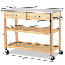 Load image into Gallery viewer, Purchase giantex kitchen trolley cart rolling island cart serving cart large storage with stainless steel countertop lockable wheels 2 drawers and shelf utility cart for home and restaurant solid pine wood