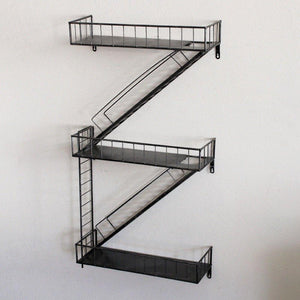Exclusive qianda wall shelves storage display floating shelf z shape bookshelf iron bar black bookrack coffee shop 3 tiers bookcase commodity shelf flower shelf industrial style