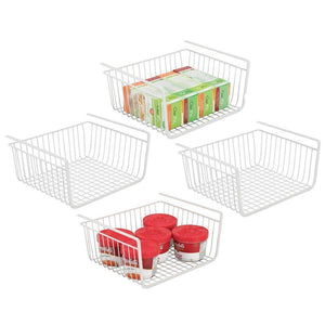 The best mdesign household metal under shelf hanging storage bin basket with open front for organizing kitchen cabinets cupboards pantries shelves large 4 pack white