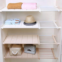 Load image into Gallery viewer, Discover the hyfanstr adjustable storage rack expandable separator shelf for wardrobe cupboard bookcase compartment collecting length 28 7 51 width 11 8 khaki
