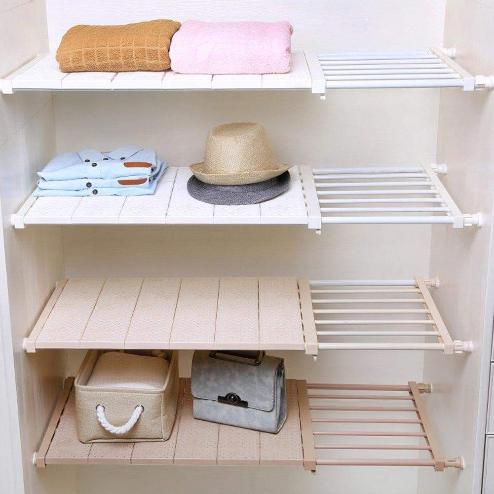 Discover the hyfanstr adjustable storage rack expandable separator shelf for wardrobe cupboard bookcase compartment collecting length 28 7 51 width 11 8 khaki