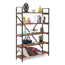 Load image into Gallery viewer, Get care royal vintage 5 tier open back storage bookshelf industrial 69 5 inches h bookcase decor display shelf living room home office natural solid reclaimed wood sturdy rustic brown metal frame