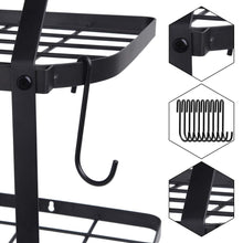 Load image into Gallery viewer, Organize with geekdigg 29 5 inch wall mounted pot rack storage shelf with 2 tier 10 hooks included kitchen pot racks hanging storage organizer black