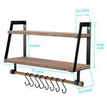 Load image into Gallery viewer, Heavy duty kakivan 2 tier floating shelves wall mount for kitchen spice rack with 8 hooks storage rustic farmhouse wood wall shelf for bathroom decor with towel bar