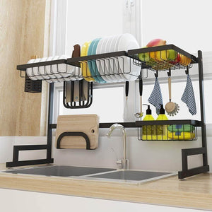 Kitchen gmwsqj dish drying rack over sink display stand drainer stainless steel kitchen supplies storage shelf utensils holder black