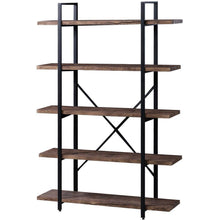 Load image into Gallery viewer, Home superjare 5 shelf industrial bookshelf open etagere bookcase with metal frame rustic book shelf storage display shelves wood grain vintage
