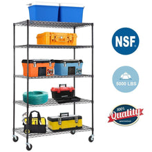 Load image into Gallery viewer, Order now 5 wire shelving unit steel large metal shelf organizer garage storage shelves heavy duty nsf certified commercial grade height adjustable rack 5000 lbs capacity on 4 wheels 24d x 48w x 76h black