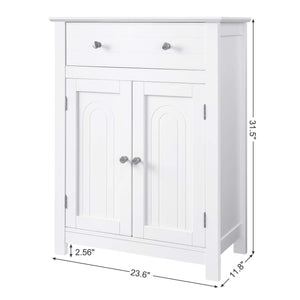 Top vasagle free standing bathroom cabinet with drawer and adjustable shelf kitchen cupboard wooden entryway storage cabinet white 23 6 x 11 8 x 31 5 inches ubbc61wt