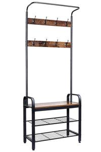 Results zncmrr entryway hall tree with shoe bench rustic coat rack industrial entryway furniture organizer with 8 double hooks and storage shelf for hallway bedroom living room easy assembly