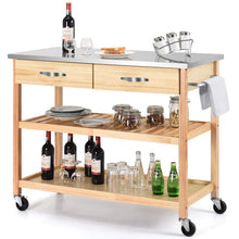 Load image into Gallery viewer, Organize with giantex kitchen trolley cart rolling island cart serving cart large storage with stainless steel countertop lockable wheels 2 drawers and shelf utility cart for home and restaurant solid pine wood