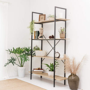 Save c hopetree open bookcase bookshelf large storage ladder shelf vintage industrial plant display stand rack home office furniture black metal frame 4 tier open