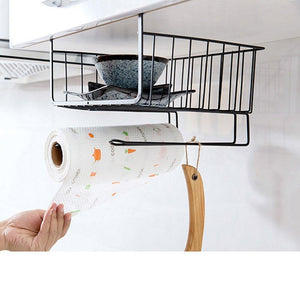 Online shopping aiyoo heavy duty under shelf basket with paper towel holder for pantry cabinet closet wire rack storage basket wardrobe office desk space save bathroom kitchen organizer baskets for extra storage