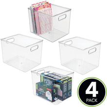 Load image into Gallery viewer, Shop mdesign plastic storage bin with handles for office desk book shelf filing cabinet organizer for sticky notes pens notepads pencils supplies bpa free 10 long 4 pack clear