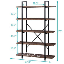 Load image into Gallery viewer, Heavy duty superjare 5 shelf industrial bookshelf open etagere bookcase with metal frame rustic book shelf storage display shelves wood grain vintage