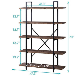 Heavy duty superjare 5 shelf industrial bookshelf open etagere bookcase with metal frame rustic book shelf storage display shelves wood grain vintage