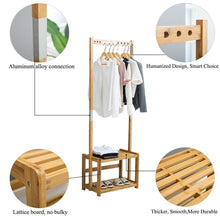 Load image into Gallery viewer, Budget friendly nnewvante coat rack bench hall trees shoes rack entryway 3 in 1 shelf organizer shelf environmental bamboo furniture bamboo 29 5x13 8x70in