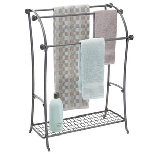 Products mdesign large freestanding towel rack holder with storage shelf 3 tier metal organizer for bath hand towels washcloths bathroom accessories graphite gray