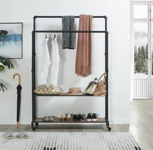 Discover the best homissue 72 inch industrial pipe double rail hall tree with shoe storage on wheel 2 shelf rolling clothes rack organizer with 2 hanging rod for garment storage display vintage brown