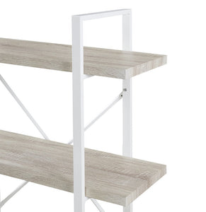 Best homissue 5 shelf modern style bookshelf light oak shelves and white metal frame display storage rack for collection 70 0 inch height