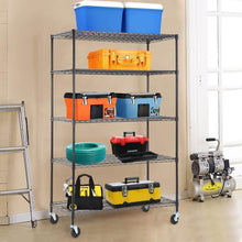 Load image into Gallery viewer, Results 5 wire shelving unit steel large metal shelf organizer garage storage shelves heavy duty nsf certified commercial grade height adjustable rack 5000 lbs capacity on 4 wheels 24d x 48w x 76h black