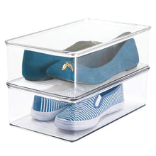 Load image into Gallery viewer, Cheap mdesign stackable plastic closet shelf shoe storage organizer box with lid for mens womens kids sandals flats sneakers 8 pack clear
