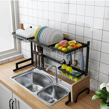 Load image into Gallery viewer, Shop for stainless steel black dish drying rack over kitchen sink dishes and utensils draining shelf kitchen storage countertop organizer utensils holder kitchen space saver for sink 32 5inch