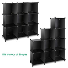 Load image into Gallery viewer, Top tomcare cube storage 9 cube closet organizer shelves plastic storage cube organizer diy closet organizer storage cabinet modular book shelf shelving for bedroom living room office black