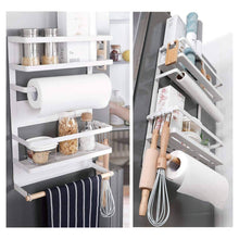 Load image into Gallery viewer, Exclusive kitchen rack magnetic fridge organizer 18 1x11 8x4 4 inch paper towel holder rustproof spice jars rack plastic wrap holder refrigerator shelf storage including 5 removable hook 201 white