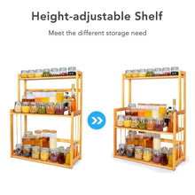 Load image into Gallery viewer, Budget 3 tier spice rack kitchen bathroom countertop storage organizer rack bamboo spice bottle jars rack holder with adjustable shelf 100 natrual bamboo
