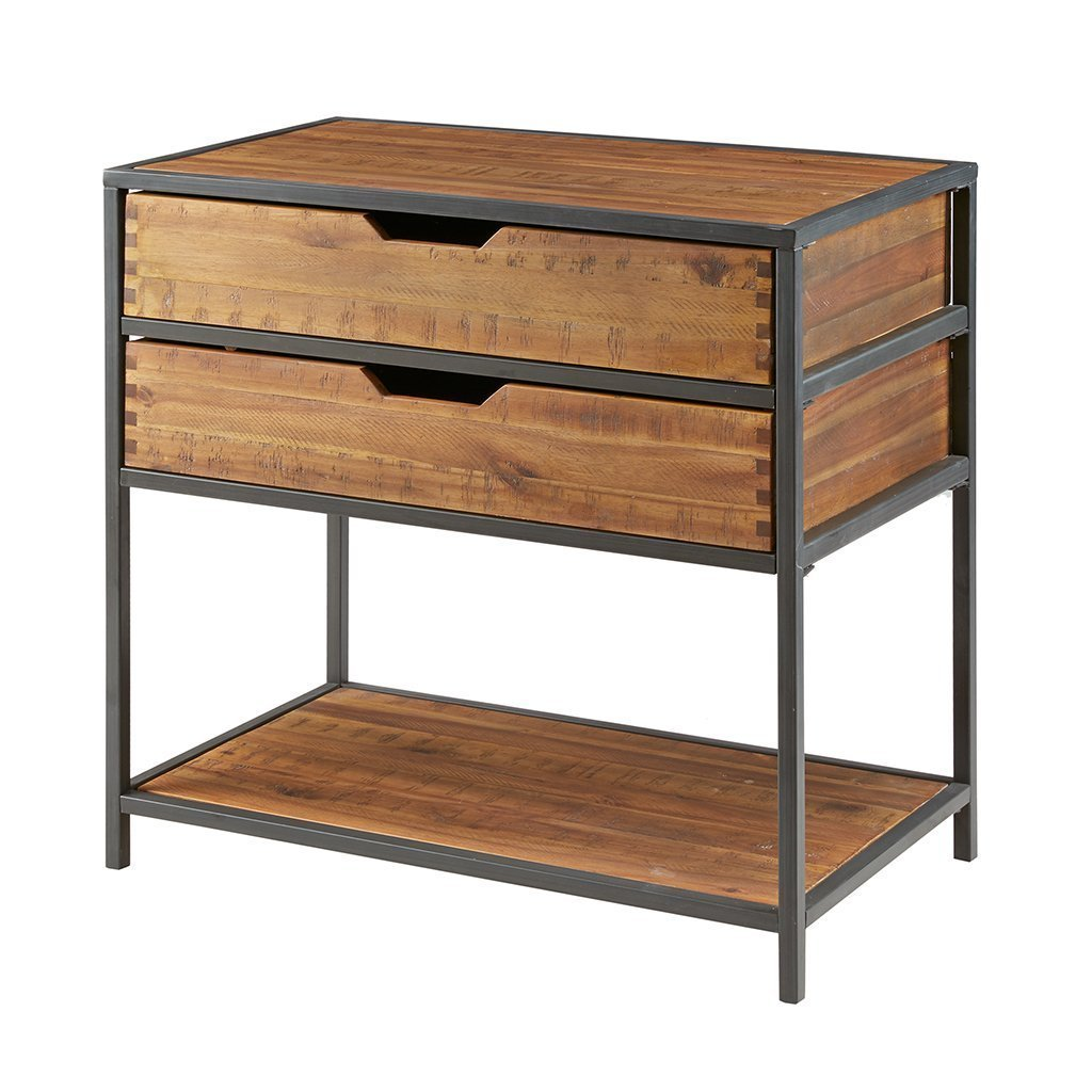 Top rated madison park hudson accent chest acacia wood metal 2 drawer living room storage natural wood modern style pantry cabinet with shelf