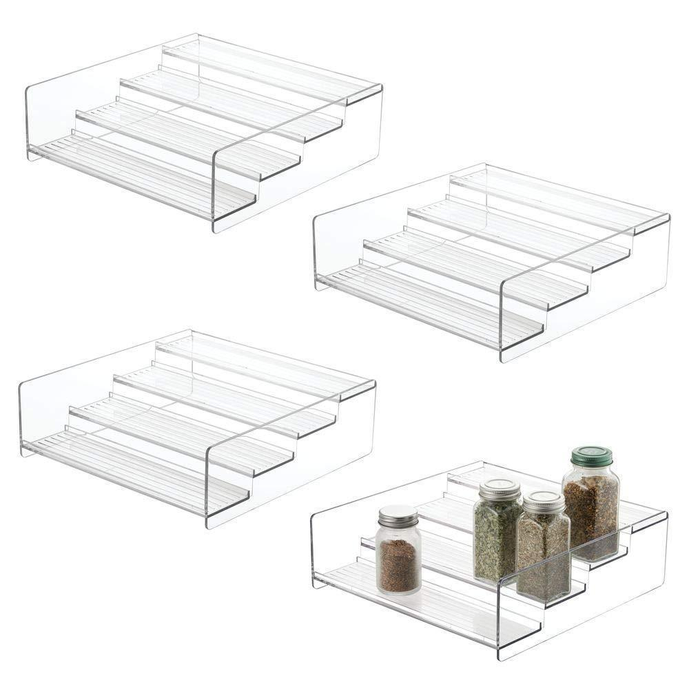 Purchase mdesign plastic kitchen spice bottle rack holder food storage organizer for cabinet cupboard pantry shelf holds spices mason jars baking supplies canned food 4 levels 4 pack clear