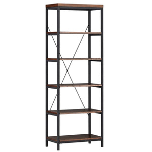 Latest modhaus living industrial rustic style black metal frame 6 tier 26 inches horizontal bookshelf storage media tower dark brown finish living room decor includes pen 26 inches wide