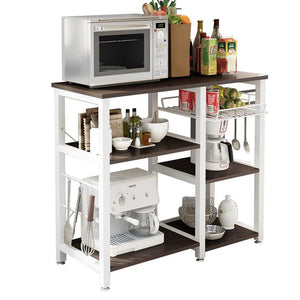 Exclusive mixcept multi purpose 3 tier kitchen bakers rack utility microwave oven stand storage cart workstation shelf w5s bk mi black