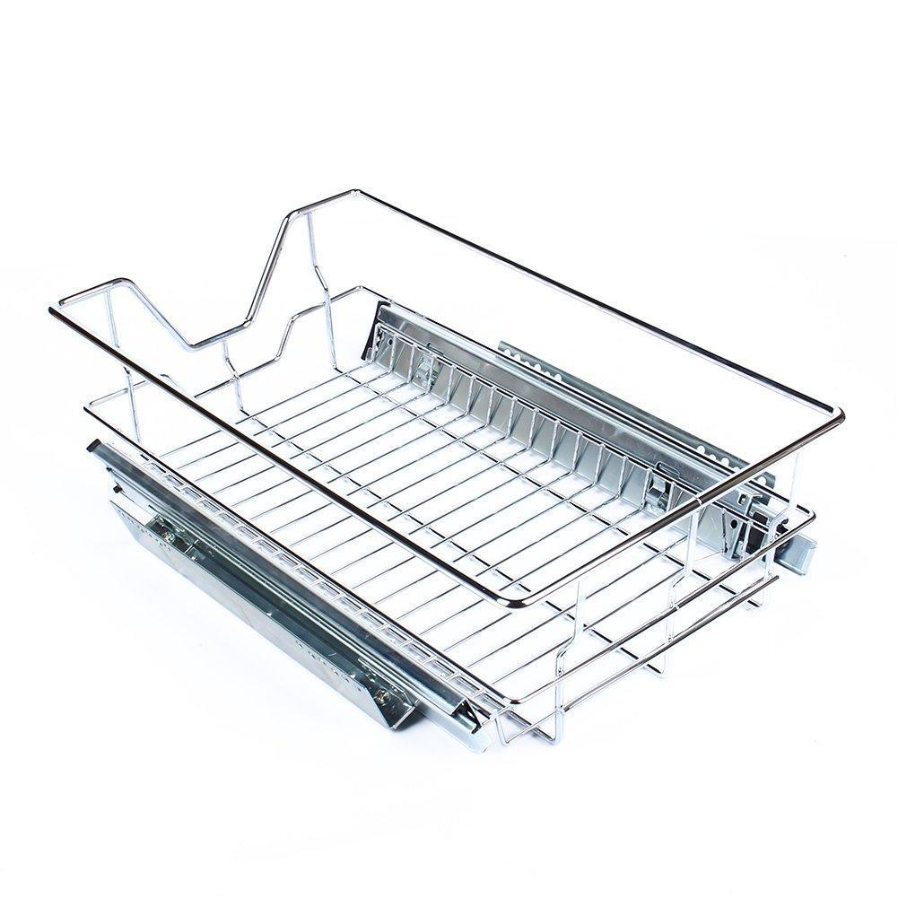 Featured kitchen sliding cabinet organizer pull out chrome wire storage basket drawer pull out cabinet shelf for kitchen cabinets cupboards 20 3 17 35 3