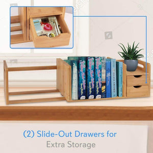 Heavy duty bamboo wood expandable desk organizer desktop tabletop organic wooden filing organization bookshelf w storage drawer for book home office file paper supplies cookbook serenelife sldcab180