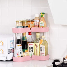 Load image into Gallery viewer, Related feoowv 2 tier kitchen countertop corner storage rack bathroom corner shelf space saving organizer for spice jars bottle holder stylec pink