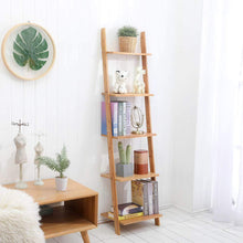 Load image into Gallery viewer, Select nice exilot natural bamboo ladder shelf 5 tier wall leaning bookshelf ladder bookcase storage display shelves for living room kitchen office multi functional plant flower stand shelf