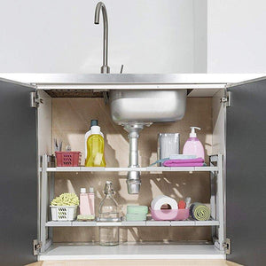 Cheap yomym under cabinet sink organizer 2 tier expandable shelf organizer rack for bathroom pantry or kitchen storage cabinets organization and storage adjustable shelves in heavy duty plastic and metal