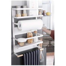 Load image into Gallery viewer, Cheap kitchen rack magnetic fridge organizer 18 1x11 8x4 4 inch paper towel holder rustproof spice jars rack plastic wrap holder refrigerator shelf storage including 5 removable hook 201 white