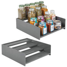 Load image into Gallery viewer, On amazon mdesign plastic kitchen spice bottle rack holder food storage organizer for cabinet cupboard pantry shelf holds spices mason jars baking supplies canned food 4 levels 2 pack charcoal gray
