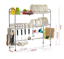 Load image into Gallery viewer, Kitchen mago retractable 304 stainless steel dish rack drain rack sink universal pool frame kitchen shelf multi function kitchen storage size 100cm x 28cm x 82cm