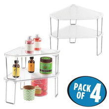 Load image into Gallery viewer, Home mdesign corner plastic metal freestanding stackable organizer shelf for kitchen countertop pantry or cabinet for storing plates mugs bowls canned goods baking supplies 4 pack clear chrome