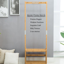 Load image into Gallery viewer, Best nnewvante coat rack bench hall trees shoes rack entryway 3 in 1 shelf organizer shelf environmental bamboo furniture bamboo 29 5x13 8x70in
