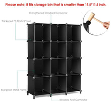 Load image into Gallery viewer, Discover the best tomcare cube storage 12 cube bookshelf closet organizer storage shelves shelf cubes organizer plastic book shelf bookcase diy square closet cabinet shelves for bedroom office living room black
