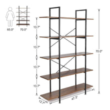 Load image into Gallery viewer, Purchase cocoarm 5 tier vintage industrial rustic bookshelf wall mountable bookcase in wood and metal ladder shelf for living room or office organizer storage bookshelf